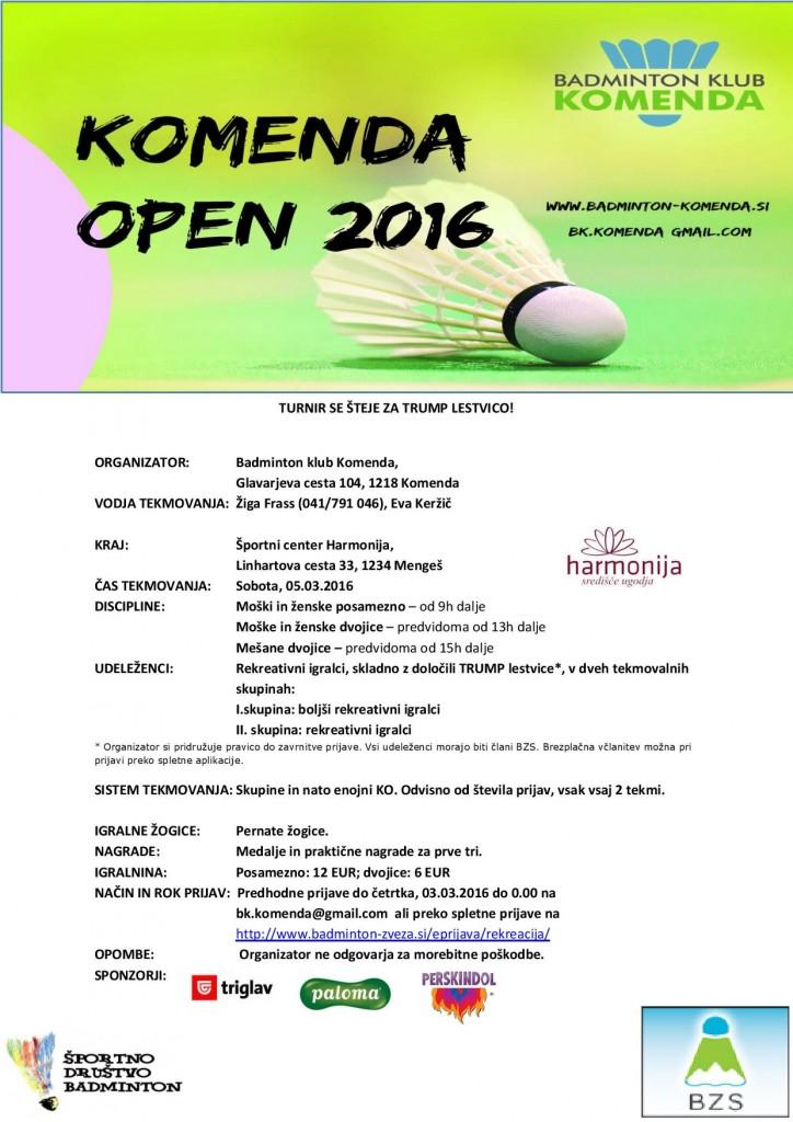 RAZPIS - KOMENDA OPEN 2016